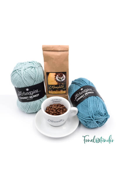 Kék Cappuccino - minta+fonal+kávé csomag